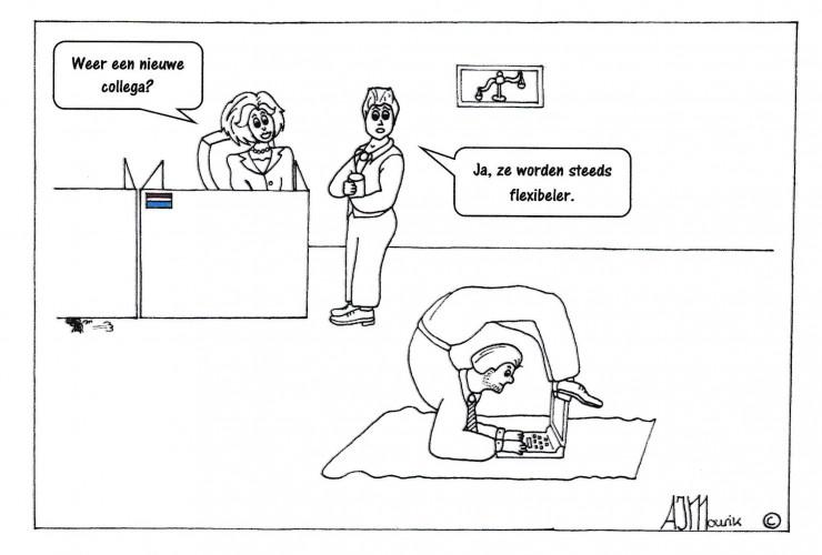 Gebruik maken van flexibele krachten cartoon